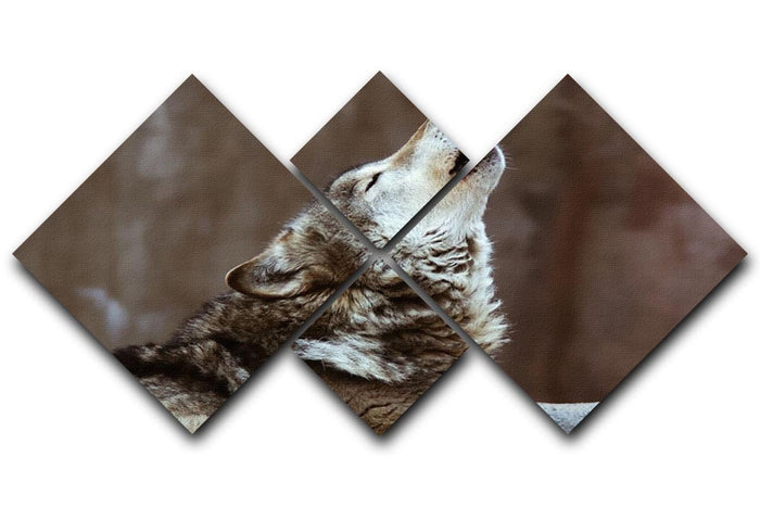 Wolves howl in Moscow Zoo 4 Square Multi Panel Canvas
