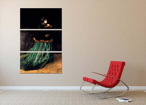 Woman In A Green Dress by Monet 3 Split Panel Canvas Print - Canvas Art Rocks - 2