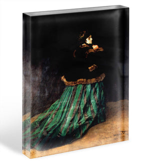 Woman In A Green Dress by Monet Acrylic Block - Canvas Art Rocks - 1