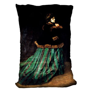 Woman In A Green Dress by Monet Throw Pillow
