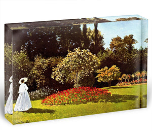 Woman in the garden by Monet Acrylic Block - Canvas Art Rocks - 1