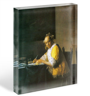 Woman in yellow by Vermeer Acrylic Block - Canvas Art Rocks - 1