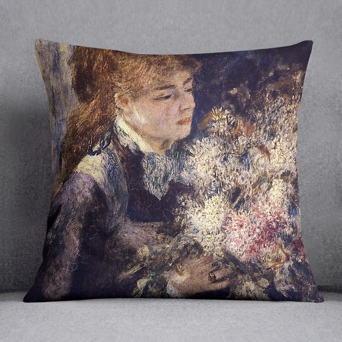Woman with Lilacs by Renoir Throw Pillow