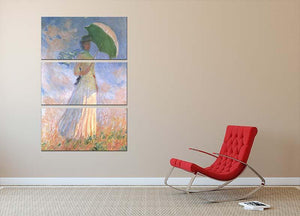 Woman with Parasol 2 by Monet 3 Split Panel Canvas Print - Canvas Art Rocks - 2