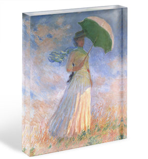 Woman with Parasol 2 by Monet Acrylic Block - Canvas Art Rocks - 1