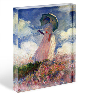 Woman with Parasol study by Monet Acrylic Block - Canvas Art Rocks - 1