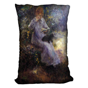 Woman with a black dog by Renoir Throw Pillow
