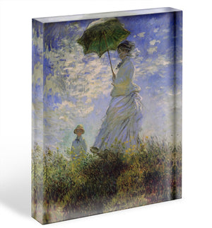 Woman with a parasol by Monet Acrylic Block - Canvas Art Rocks - 1