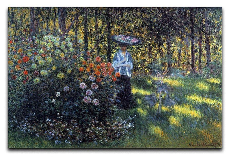 Woman with a parasol in the garden of Argenteuil by Monet Canvas Print & Poster  - Canvas Art Rocks - 1