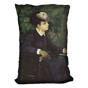 Woman with gull feather Woman in the garden by Renoir Throw Pillow