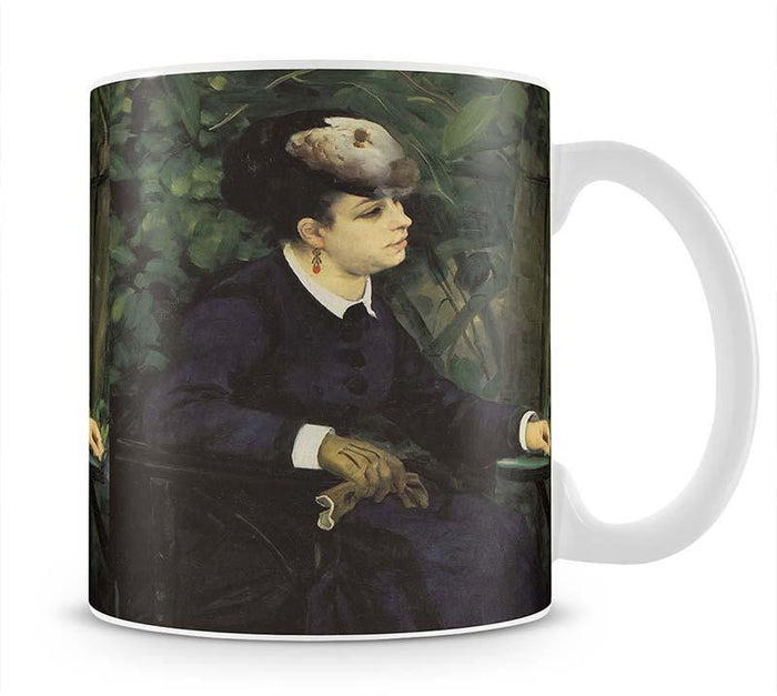 Woman with gull feather Woman in the garden by Renoir Mug