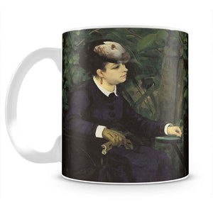 Woman with gull feather Woman in the garden by Renoir Mug - Canvas Art Rocks - 2