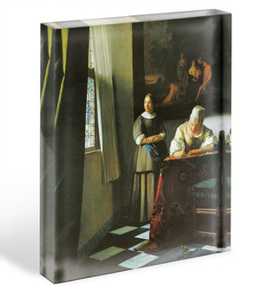 Woman with messenger by Vermeer Acrylic Block - Canvas Art Rocks - 1