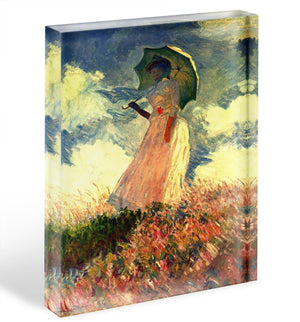 Woman with sunshade by Monet Acrylic Block - Canvas Art Rocks - 1