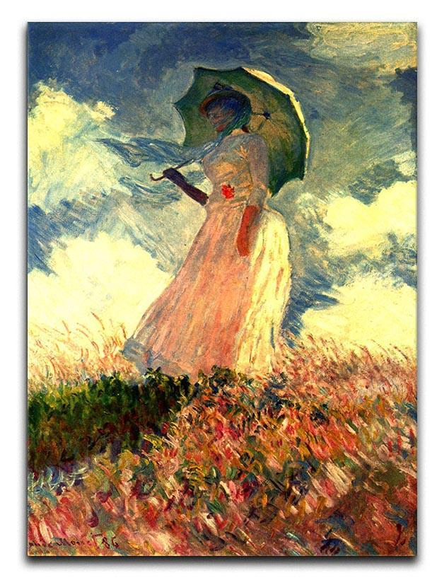 Woman with sunshade by Monet Canvas Print or Poster