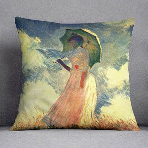 Woman with sunshade by Monet Throw Pillow