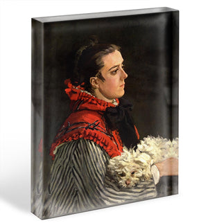 Women with Dog by Monet Acrylic Block - Canvas Art Rocks - 1