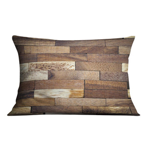 Wooden bars parquet Cushion - Canvas Art Rocks - 4
