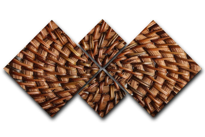 Woven wooden texture 4 Square Multi Panel Canvas