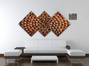 Woven wooden texture 4 Square Multi Panel Canvas  - Canvas Art Rocks - 3