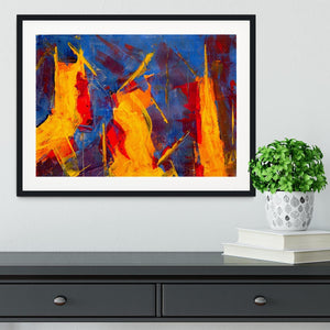 Yellow Blue Brown and Red Abstract Painting Framed Print - Canvas Art Rocks - 1