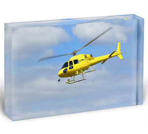 Yellow helicopter in the air Acrylic Block - Canvas Art Rocks - 1