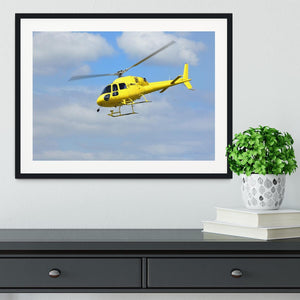 Yellow helicopter in the air Framed Print - Canvas Art Rocks - 1