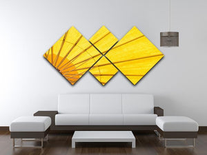 Yellow umbrella background 4 Square Multi Panel Canvas  - Canvas Art Rocks - 3