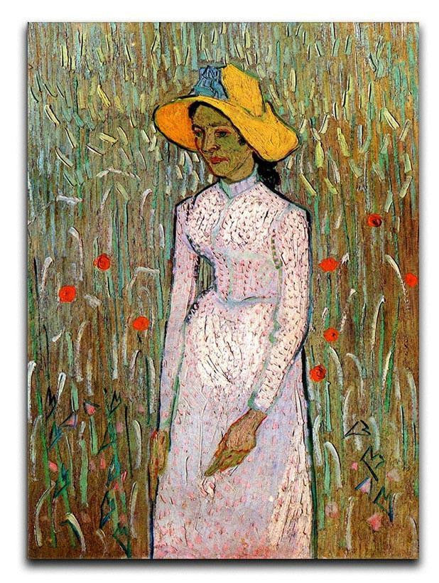 Young Girl Standing Against a Background of Wheat by Van Gogh Canvas Print or Poster