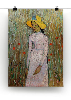Young Girl Standing Against a Background of Wheat by Van Gogh Canvas Print & Poster - Canvas Art Rocks - 2