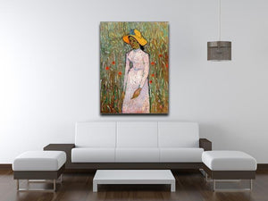Young Girl Standing Against a Background of Wheat by Van Gogh Canvas Print & Poster - Canvas Art Rocks - 4