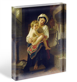Young Mother Gazing At Her Child By Bouguereau Acrylic Block - Canvas Art Rocks - 1