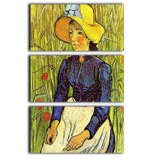 Young Peasant Woman with Straw Hat Sitting in the Wheat by Van Gogh 3 Split Panel Canvas Print - Canvas Art Rocks - 1