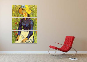 Young Peasant Woman with Straw Hat Sitting in the Wheat by Van Gogh 3 Split Panel Canvas Print - Canvas Art Rocks - 2