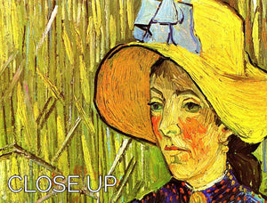 Young Peasant Woman with Straw Hat Sitting in the Wheat by Van Gogh 3 Split Panel Canvas Print - Canvas Art Rocks - 3