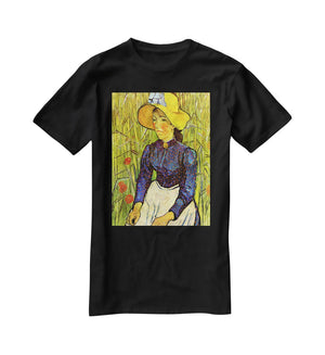 Young Peasant Woman with Straw Hat Sitting in the Wheat by Van Gogh T-Shirt - Canvas Art Rocks - 1