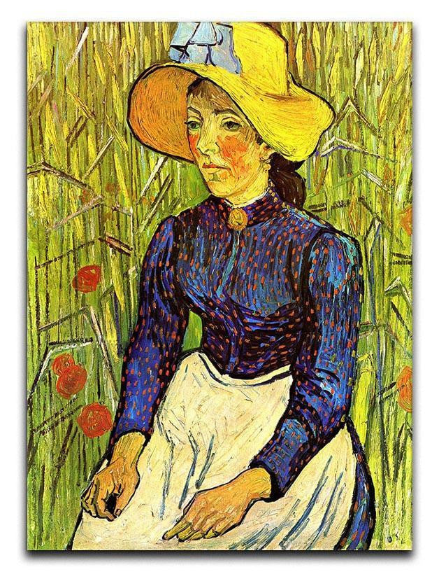 Young Peasant Woman with Straw Hat Sitting in the Wheat by Van Gogh Canvas Print or Poster