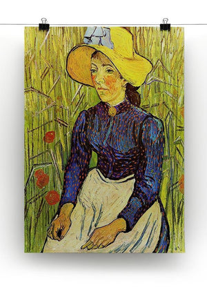 Young Peasant Woman with Straw Hat Sitting in the Wheat by Van Gogh Canvas Print & Poster - Canvas Art Rocks - 2