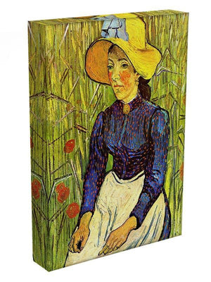 Young Peasant Woman with Straw Hat Sitting in the Wheat by Van Gogh Canvas Print & Poster - Canvas Art Rocks - 3