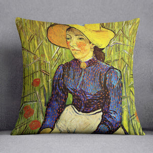 Young Peasant Woman with Straw Hat Sitting in the Wheat by Van Gogh Throw Pillow