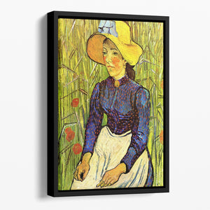 Young Peasant Woman with Straw Hat Sitting in the Wheat by Van Gogh Floating Framed Canvas