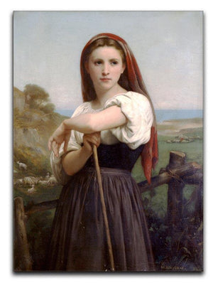Young Shepherdess By Bouguereau Canvas Print or Poster  - Canvas Art Rocks - 1