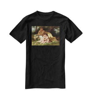 Young Woman Contemplating Two Embracing Children By Bouguereau T-Shirt - Canvas Art Rocks - 1