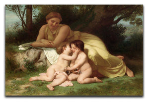 Young Woman Contemplating Two Embracing Children By Bouguereau Canvas Print or Poster  - Canvas Art Rocks - 1