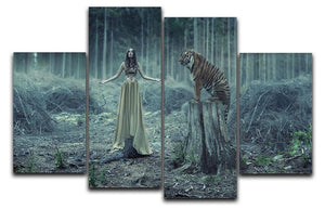 Young girl with a wild tiger 4 Split Panel Canvas - Canvas Art Rocks - 1