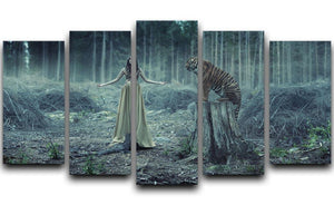 Young girl with a wild tiger 5 Split Panel Canvas - Canvas Art Rocks - 1