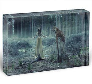 Young girl with a wild tiger Acrylic Block - Canvas Art Rocks - 1