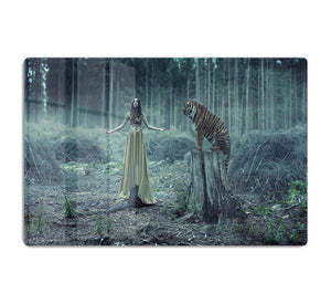 Young girl with a wild tiger HD Metal Print - Canvas Art Rocks - 1