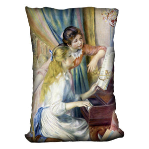 Young girls at the piano 3 by Renoir Throw Pillow