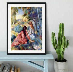 Young girls in the meadow by Renoir Framed Print - Canvas Art Rocks - 1